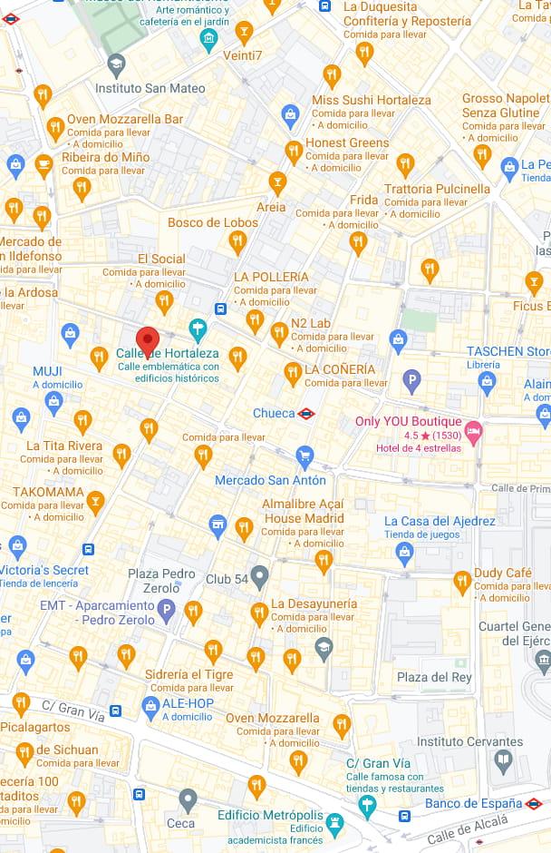 Mapa del barrio de Chueca en Madrid